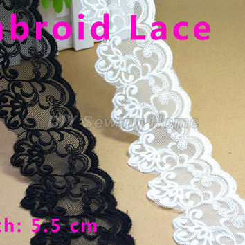 5.5cm width cotton embroid sewing ribbon guipure lace trim or fabric warp knitting DIY Garment Accessories free shipping#2884