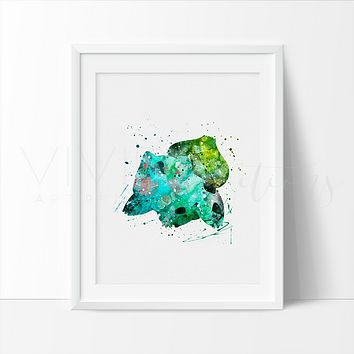 Bulbasaur, Pokemon Go Watercolor Art Print