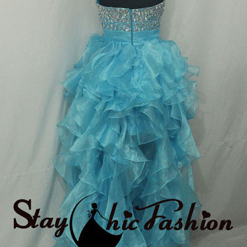 Big Iridescent Stones Beaded Top Strapless Blue Ruffled 2015 High Low Prom Dresses for Girls
