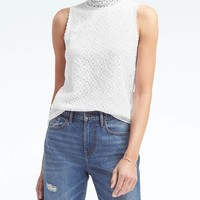 Mock-Neck Lace Trim Top | Banana Republic