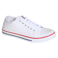 Brogan Canvas Lace Up Trainers in White