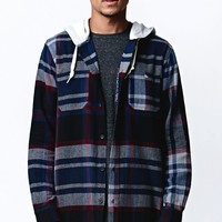 Modern Amusement Hooded Long Sleeve Flannel Button Up Shirt - Mens Shirt - Red