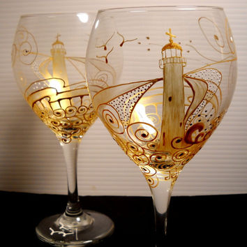 Hand Painted Wine Glasses Lighthouse Wine by skyspirit8studios