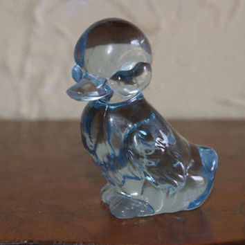Vintage 1980s Fenton Blue Glass Duckling Paperweight With Original Paper Label And Embossed Mark