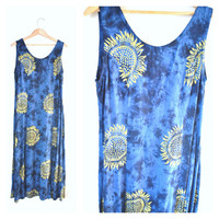 90s SUNFLOWER dress / vintage early 90s GRUNGE boho relaxed fit tie dye MIDI dress