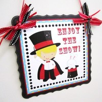 Magic Show Welcome Door Sign for Children Birthday Party Decoration