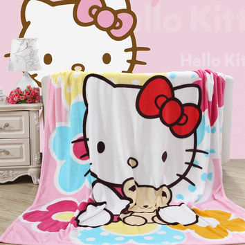 Home textiles,pink lovely kitty best coral fleece fabric blankets bedclothes for bed can be as bed sheet soft and warm throws