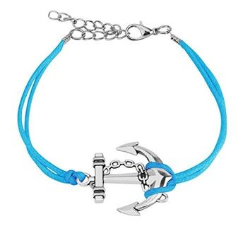 BodyJ4You Bracelet Leather Cuff Anchor Aqua Blue Rope Wrap
