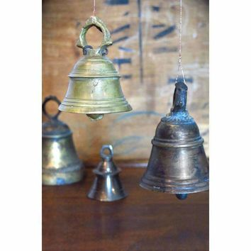 Vintage Brass Bells - Set of 4