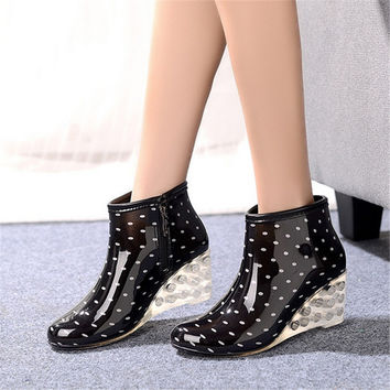 Women's short rainboots high heel plus cotton disassembly water shoes slip-resistant wedges shoes plus velvet single boots