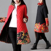 Chinese Style Winter Jacket Women Stand Collar Thickening Cotton-Padded Jackets Ladies Long Outwear Coats