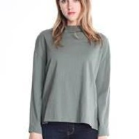 Dolton - L/S Jersey Mock Neck Slit Sleeve - Juniper