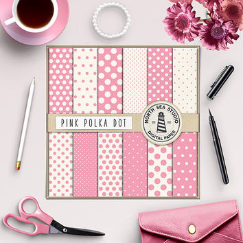 Pink Polkadot Digital Paper Digital Scrapbook Paper Girly Pink Background Papers Polka Dot Pattern Pink Background 12x12 Commercial Use