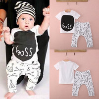Newborn Baby Boy Girl Clothing Set Print T-shirt Pants Outfits 0 6 12 18 24M = 5618787201