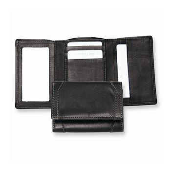 Black Leather Trifold Wallet - Engravable Personalized Gift Item