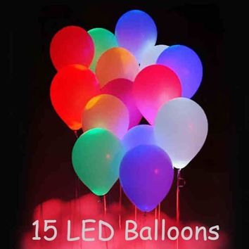 15pcs 12'' LED Balloon Light Ball Latex Multicolor Helium Balloons Christmas Halloween Decoration Wedding Birthday Party Baloons