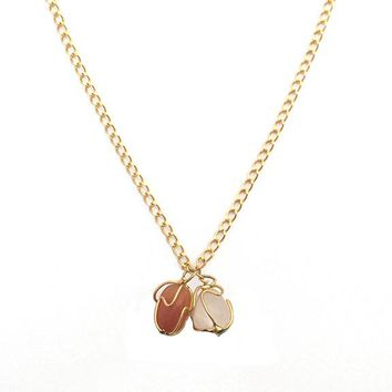 Gold Twisted Wire Orange and Pink Stone Chain Necklace