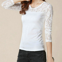 Sheer Sleeve Long Sleeve Floral Lace Top