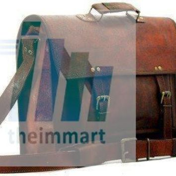 IN-INDIA Pure Leather Modern Light- Weight Messenger Satchel Bag - Fits Laptop Upto 15.6 Inches