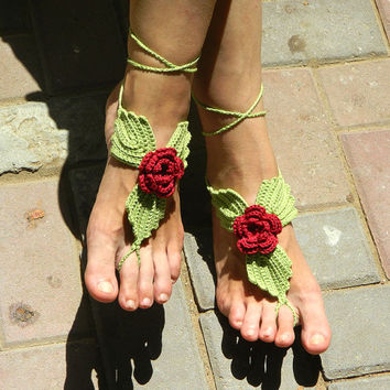 Fairy Queen crochet barefoot sandals for elfin wedding beach wedding yoga bridal bridesmaid