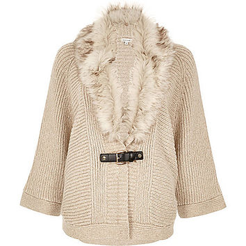 Oatmeal faux fur trim cape cardigan - cardigans - knitwear - women