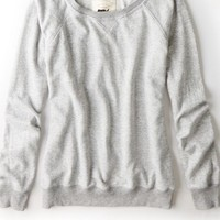 AEO Women's Crew Sweatshirt (Medium Heather Grey)