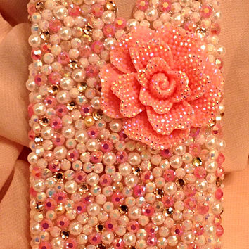 Pink Pearl Crystal Flower case, Rose phone case, bling case, girly case