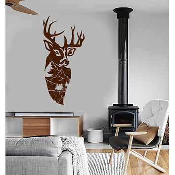 Vinyl Wall Decal Mountain Landscape Deer Head Forest Animal Stickers (4022ig)