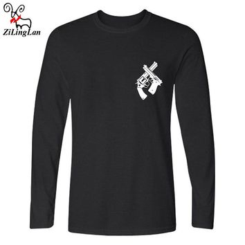 Zilinglan Classice Guns Design Fashion Men's Painted Hipster Tops Cool Long Sleeve Tees Cotton Long Sleeve T shirt US Size