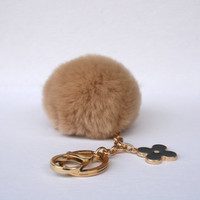 Pom-Perfect Brown-Beige REX Rabbit fur pom pom ball with black flower keychain