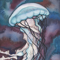 Sea Nettle Jellyfish 4 x 6 print of hand painted detailed watercolour artwork in whimsical deep purple mauve turquoise earth tones