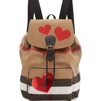Medium Sequined-Heart Check Canvas Backpack, Red