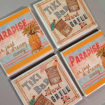 Tiki bar and grill coasters, set of 4, paradise, pineapple, Hawaiian, Perfect for LUAU, summer party, drink coasters, orange and blue, love