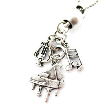 Grand Piano and Musical Notes Shaped Music Themed Charm Necklace in Silver
