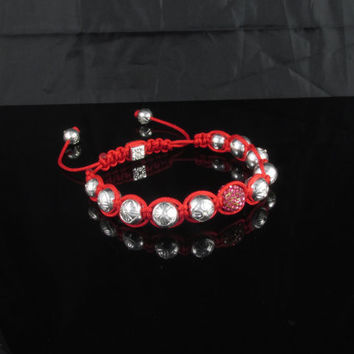 Hand made red and silver Shamballa Bracelet ( Lead and Nickel Free )