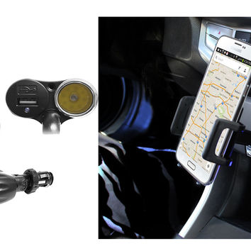 """Cellet Phone Mount with Dual Charging Ports - 3.5"""" wide"""