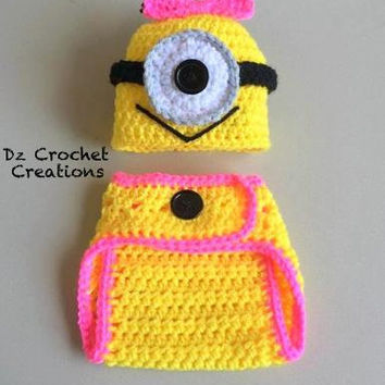 Crochet Character - Crochet Diaper Cover Set - Crochet Monster -- Photo Prop Set -- Hat, Diaper -- Baby set