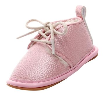 Winter Baby Boy Girl Soft Shoes Soft Soled Non-slip Footwear Crib Shoes Newborn baby shoes PU Suede Leather baby shoes