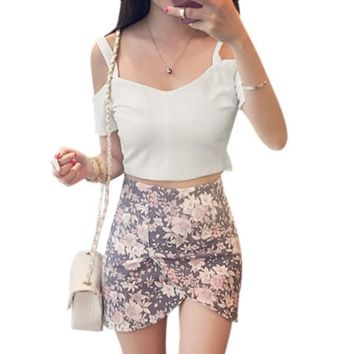 Woman Cut Out Shoulder Exposed Zipper Back Short Sleeves Crop Top White XS - Walmart.com