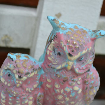 Vintage twin owls upcycled aqua/pinkish bright housewares office decor home decor nursery decor