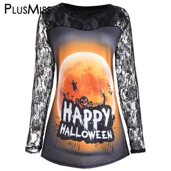 Plus Size 5XL Happy Halloween Moon Print Lace T-shirt Women Clothing Long Sleeve Sexy Crochet T Shirt Ladies Tops Tees 2017
