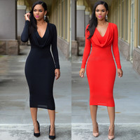 Black V-Neck Bodycon Mini Dress