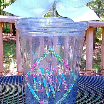 Lilly Inspired Georgia Script Monogrammed Alpha Chi Omega Sorority Tumbler 16 oz. (upgraded sizes available)