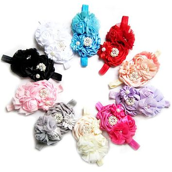 Imitation Crystal Rose Flower Newborn Baby Headband Rubber Girl Turban Hair Bands Cheer Bows Scrunchy Bandage hair accessories