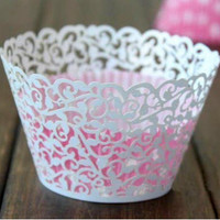 12X Laser Cut White Flower Vine Cupcake Wrappers Wraps Wedding Birthday Tea Party Decorations