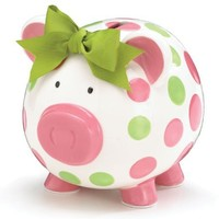 Girls Pink & Green Circles Pig Piggy Bank Green Bow Ceramic Personalized Baby Nursery Decor