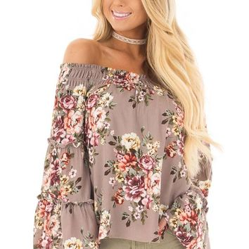 Mocha Floral Print Off the Shoulder Top with Bell Sleeves