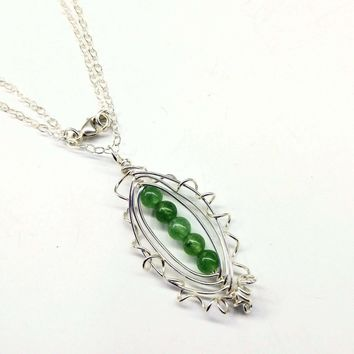 Pea Pod Sterling Silver Wire Wrapped Green Gemstone Necklace