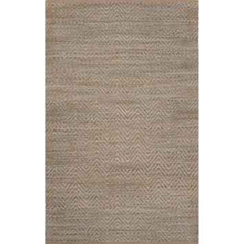 Naturals Chevrons Pattern Blue Jute and Rayon Area Rug (3.6x5.6)