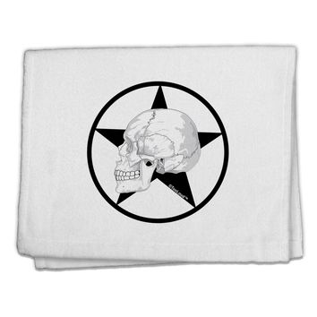 """White Skull With Star 11""""x18"""" Dish Fingertip Towel by TooLoud"""